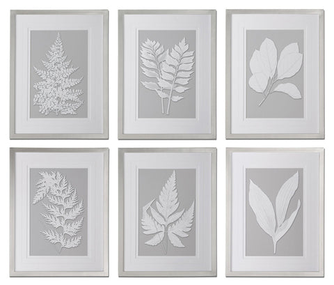 Uttermost 41394 Moonlight Ferns Framed Art, S/6 - UTMDirect