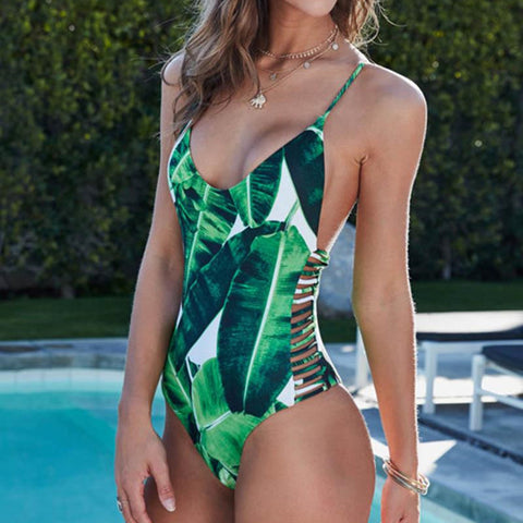 Tropical Sexy One Piece Thong Women Swimsuit