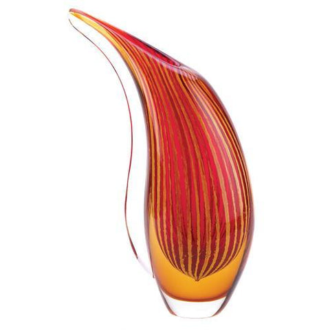 Crimson Sunset Art Glass Vase