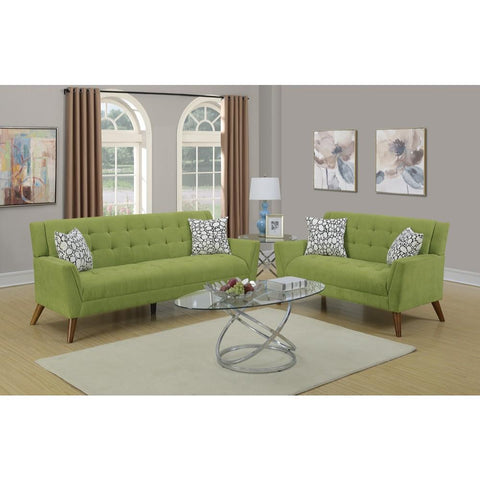 2 Piece Velveteen Green Sofa Set