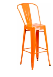 "Flash Furniture Orange Color High Back 30"" Metal Bar Stools"