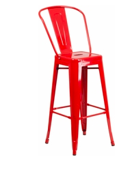 "Flash Furniture Red Color High Back 30"" Metal Bar Stools"