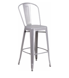 Flash Furniture 30 Inch Silver Metal Bistro Bar Stool Vertical Slat