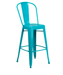 "Flash Furniture Teal High Back 30"" Metal Bar Stools"