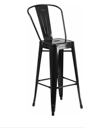 "Flash Furniture Black Color High Back 30"" Metal Bar Stools"