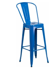 "Flash Furniture Blue Color High Back 30"" Metal Bar Stools"