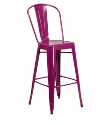 "Flash Furniture Purple Color High Back 30"" Metal Bar Stools"