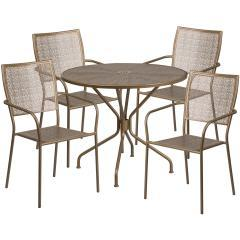 "Flash Furniture 35.25"" 5 Piece Patio Round Table Set"