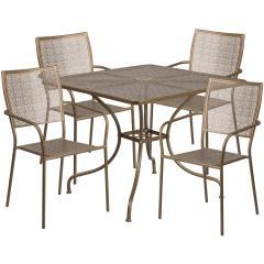 "Flash Furniture 35.5"" 5 Piece Patio Square Table Set"