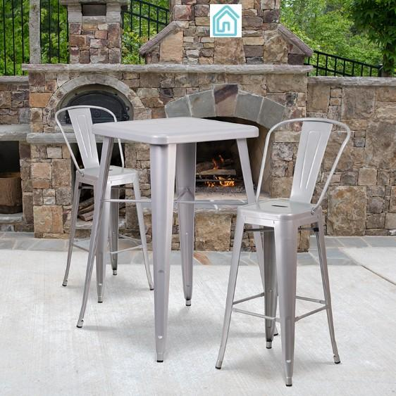"23.75"" Square Silver Metal Bar Set Modern Outdoor Furniture"