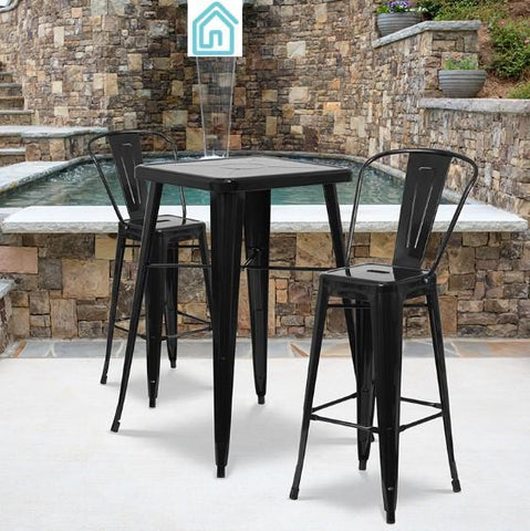 Bar Height Outdoor Dining Set 2 Black Metal Bar Stools Table