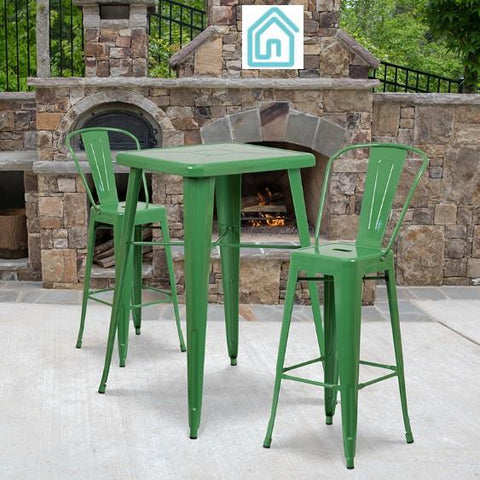 New Green Metal 3 Piece Modern Outdoor Furniture Bistro Bar Set