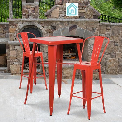 Bistro Red Metal 3 Piece Bar Set Modern Outdoor Furniture On Sale