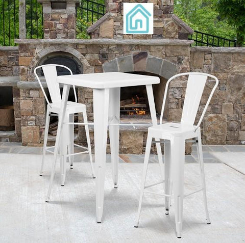 Bar Stool Table Set White Powder Coat Finish Galvanized Steel