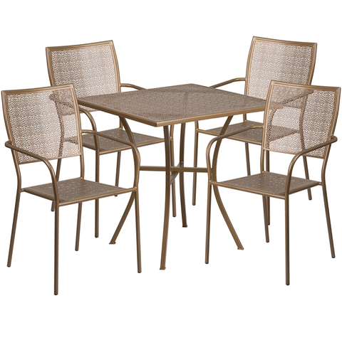 Flash Furniture 5 Piece Patio Sets 28'' Square Gold Metal Table Chairs
