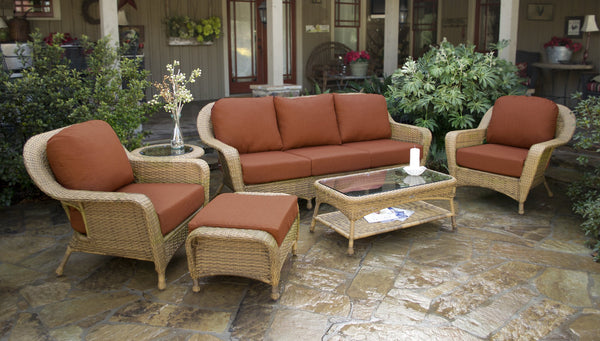 Sea Pines 6 Piece Wicker Outdoor Patio Furniture Sets