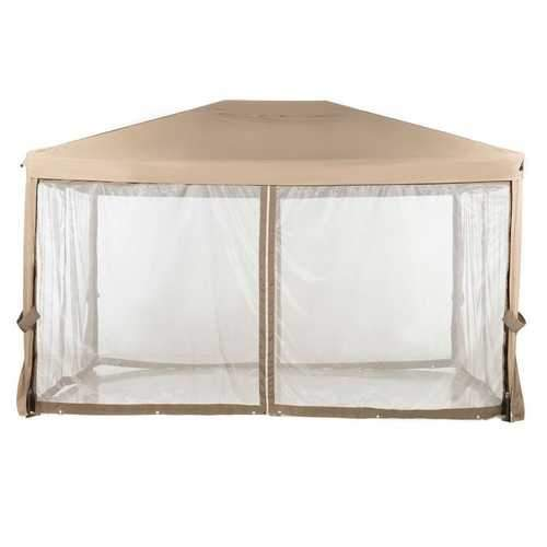 10ft x 12ft Fully Enclosed Solid Steel Garden Gazebo Patio Canopy with Mosquito Netting Tan/Brown