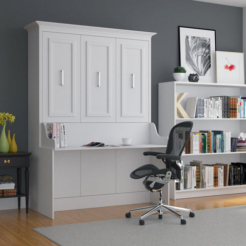 White Lacquer Queen Murphy Bed With Desk For Sale Online Furniture