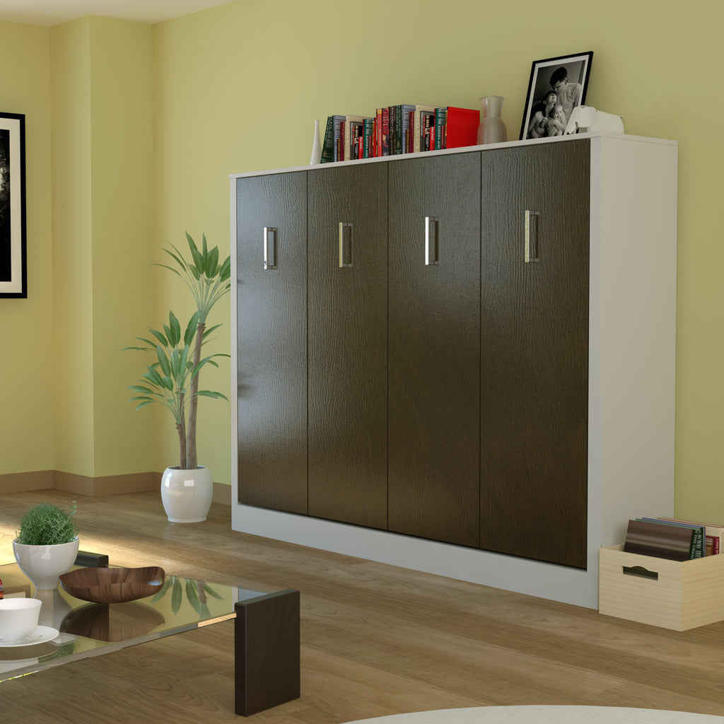 Leto Muro Alexa Full Size Wall Bed American Oak Door Panels