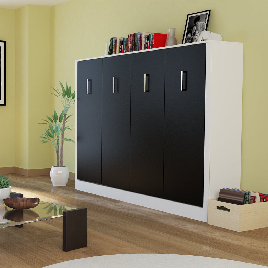 Leto Muro Alexa Full Size Wall Bed Black Door Panels