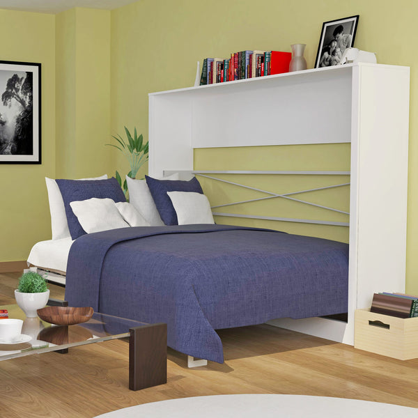 Leto Muro Alexa Full Size Wall Bed White Lacquer Finish Door Panels