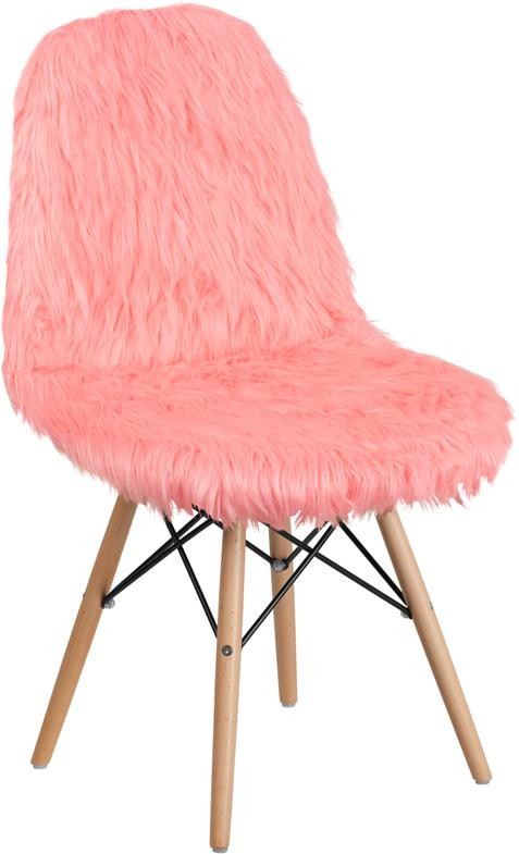 Flash Furniture Faux Fur Hermosa Pink Accent Chair