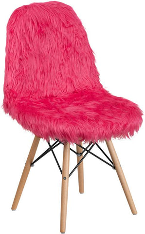 Flash Furniture Hot Pink Faux Fur Accent Chair