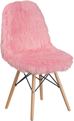 Flash Furniture Furry Mid Century Modern Pink Accent Chair