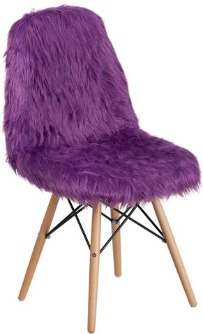 Flash Furniture Faux Fur Purple Accent Chair