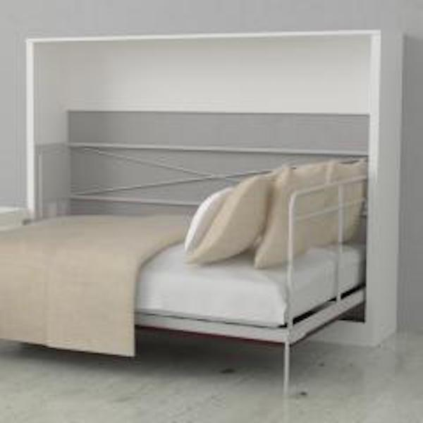 Leto Muro Allegra Double White Wall Bed With Desk Space Saving Furniture