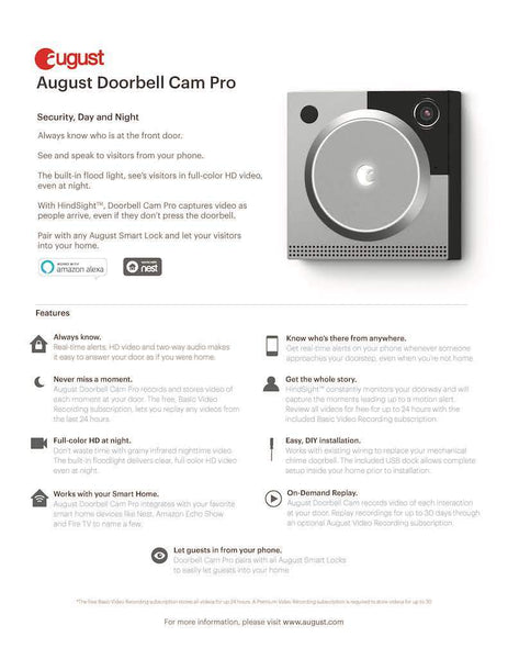 August Cam Pro Silver Information Sheet
