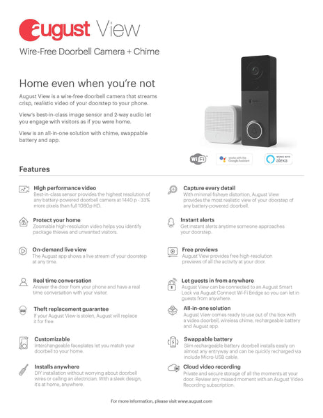 August View Wireless Doorbell Video Camera Specifications