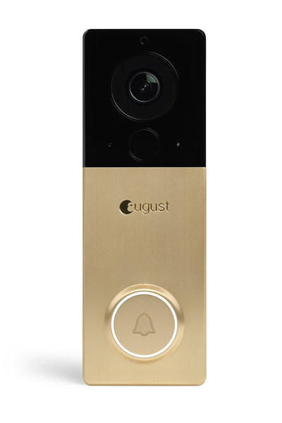 August View Wireless Doorbell Video Camera Satin Brass