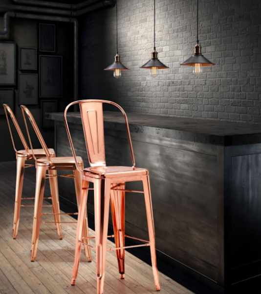 Glamorous Rose Gold Modern Bar Stool Zuo Contemporary Furniture