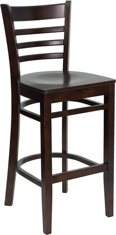 Flash Furniture Ladder Back Bar Chair Walnut Color Solid Wood