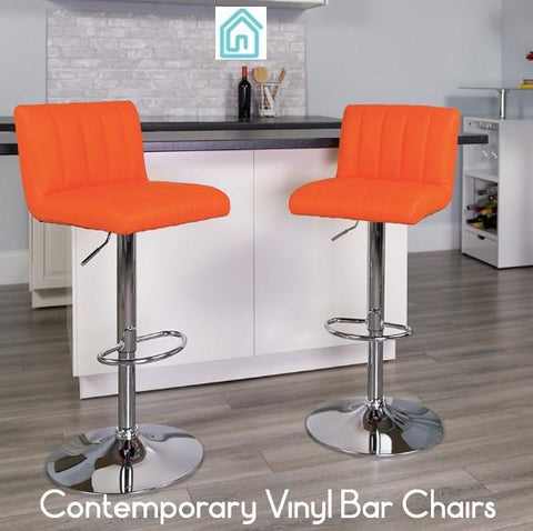 Modern Furniture Sale Orange Vinyl Contemporary Bar Chairs