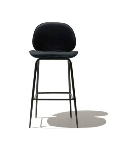 Ultra Sleek Silhouette Dark Grey Velvet Modern Bar Stool With Back
