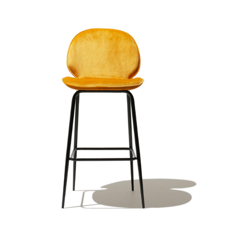 Modern Bar Stool Mustard Color Velvet Seat Back With Steel Frame