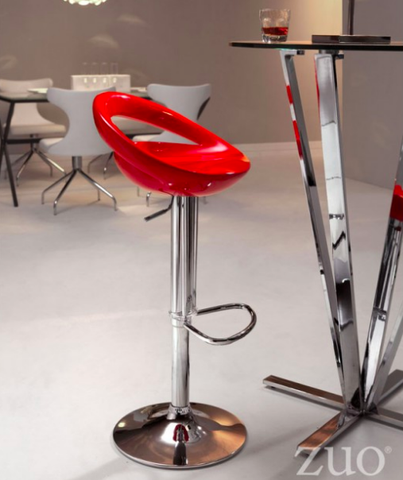 Zuo Modern Tickle Adjustable Bar Stool Red Ergonomic Seat
