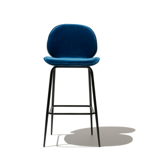 Calm Relaxing Blue Velvet Modern Bar Stool With Back Steel Frame