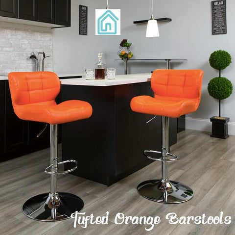 10% Discount Closeout Sale Orange Tufted Contemporary Barstools