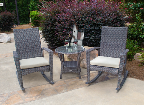 Bayview 3 Piece Wicker Outdoor Rocking Chair Sets