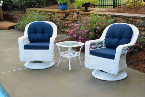 Tortuga Outdoor Biloxi 3 Piece Bistro Set White Wicker Furniture