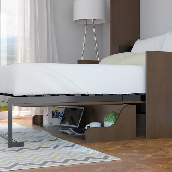 Leto Muro Coventry Walnut Color Wall Bed With Desk