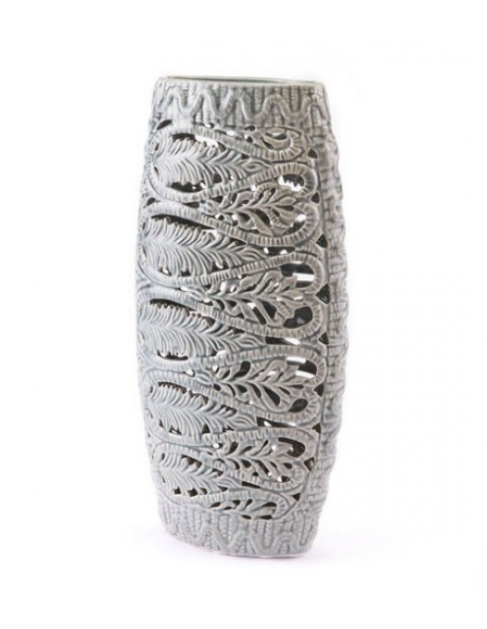 Fern Leaf Inlay Gray Ceramic Vases Online Furniture Store Sale