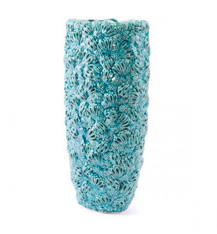 Teal Textured Ceramic Vases