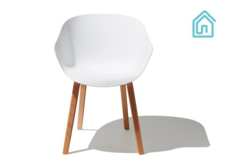 Shell Shaped White Plastic Seat Mid Century Modern Accent Chair
