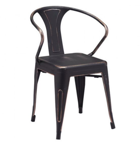 Zuo Modern Helix Black Gold Metal Dining Chair