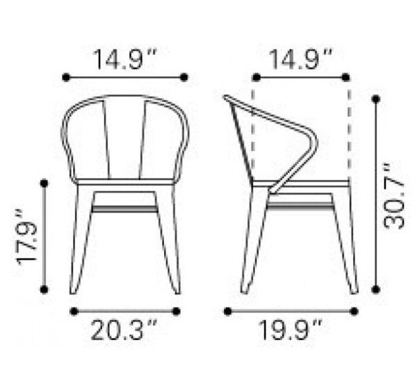 Zuo Modern Helix Metal Wood Seat Dining Chair Dimensions
