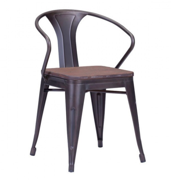 Zuo Modern Helix Metal Wood Seat Dining Chair